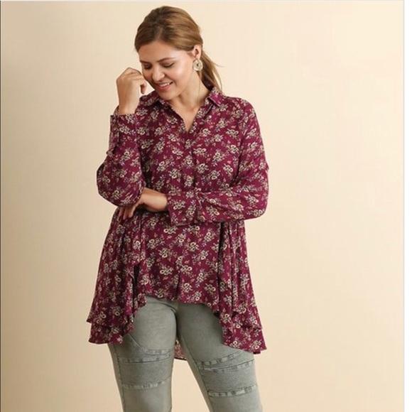 43872cdfef PLUS Size Umgee Floral Ruffle hem floral top
